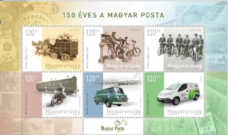150 éves a Magyar Posta bélyeg kisív – Hungary Post is 150 Years Old stamp sheet