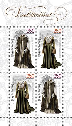 Viselettörténet I bélyeg. -  History of clothing I. stamp