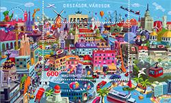 Országok, Városok bélyeg - Countries, cities stamp
